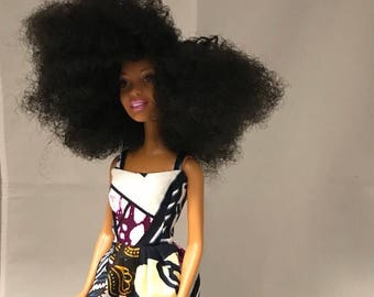 Afro hair, black doll, blackbarbie, african print long dress, black dolls with natural hair