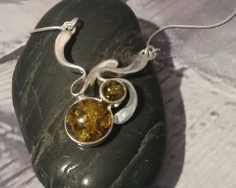 Natural Baltic Amber Pendant 925 Silver