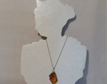 Super Chunky Tibetan Silver and Faux Baltic Amber Pendant,Large Pendant Hung on a Silver Tone Rope Chain