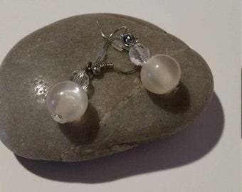 Beaded Earrings , Beaded Dangle Earrings, Gift for Her, Gift for Mom,Clear beads Earrings