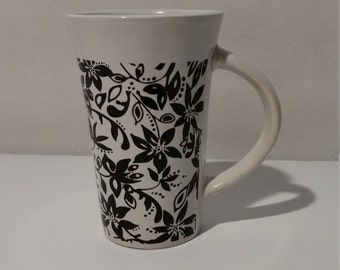 Royal Norfolk Ceramic Mug Coffee Mug, Tea/Coffee Mug , Black Scroll Flowers