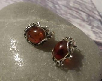 Baltic Amber Earrings,Vintage Style,Cognac, Silver 925