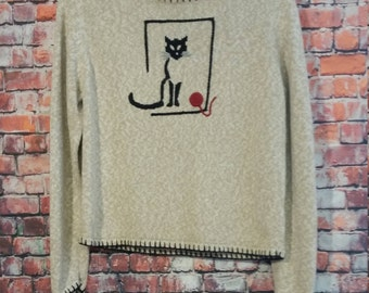 Sweater 90's, Size S, Hand Embroidered