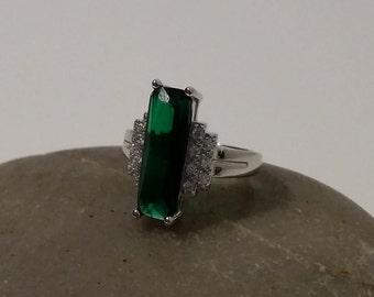 Lab Green Tourmaline&Topaz Ring Size 7