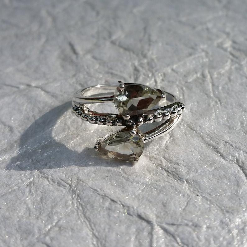 Green Amethyst Ring-Prasiolite Ring-February Birthstone-Green Gemstone Ring-Sterling Silver Jewelry-Boho Ring-Handmade Ring-Gift for Her