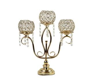 Allgala 3-Arm Crystal Candelabra Taper Candlestick Candle Holder …