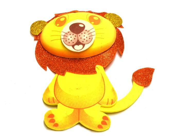 Lion 3D Glitter Foam Cut Out Party Decorations. L