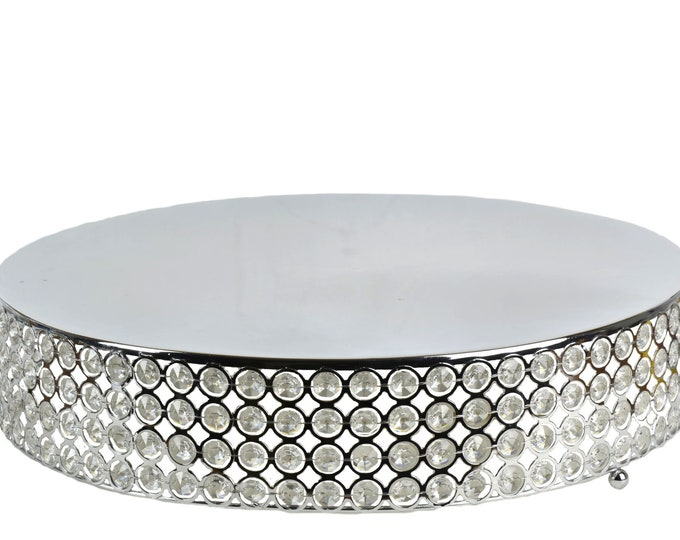 Round Cake Stand Crystal Beads Party Decorations. 17.50 Inches