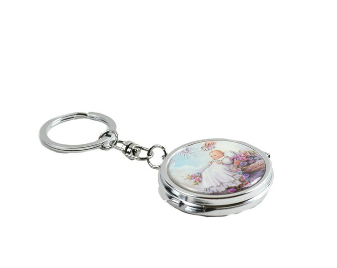 Key Chain-Mini Compact Mirror-Christening Gifts For Boys.