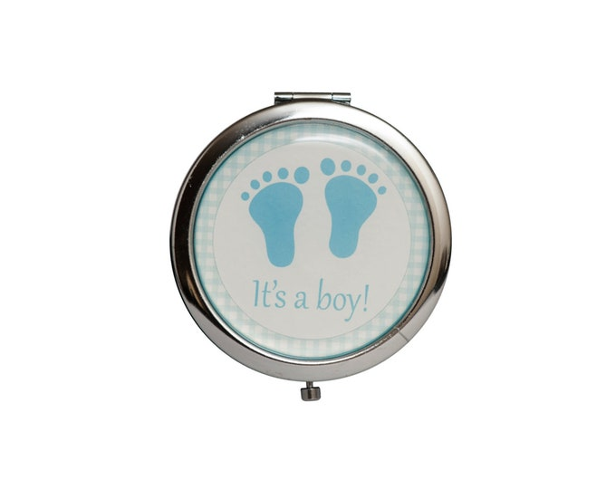 Baby Shower Favors-Mirror Compact Gifts-Baby Foot Symbol