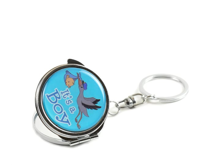 Key Chain Mini Compact Mirror Party Favors. Stork Figurine