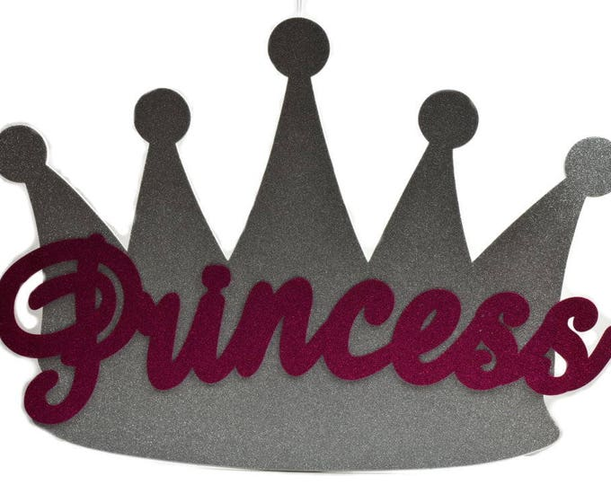 Princess Crown-Glitter Foam-Baby Shower-Banner Wall Decorations. 36 Inches.