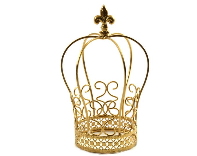 Gold Metal-Crown Cake Toppers. 9.5 Inches