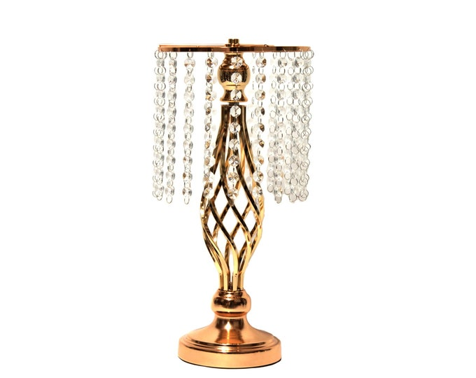 Reversible Pillar-Candle Holder-Flower Ball Stand Metallic Vases Party Decorations. 16 Inches