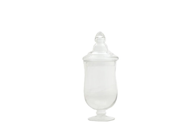 Glass Apothecary Jar Clear Canister Candy Vintage Lid Jars