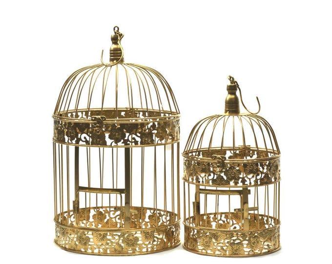Golden Wedding Bird Cages Centerpieces Decorative Set.