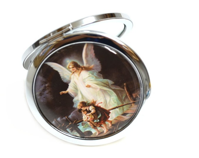 Compact Mirror Guardian Angel Baptism Party Favors.