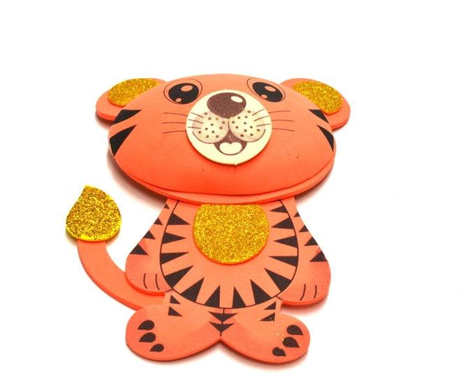 Tiger 3D Glitter Foam Cut Out Party Decorations. L.