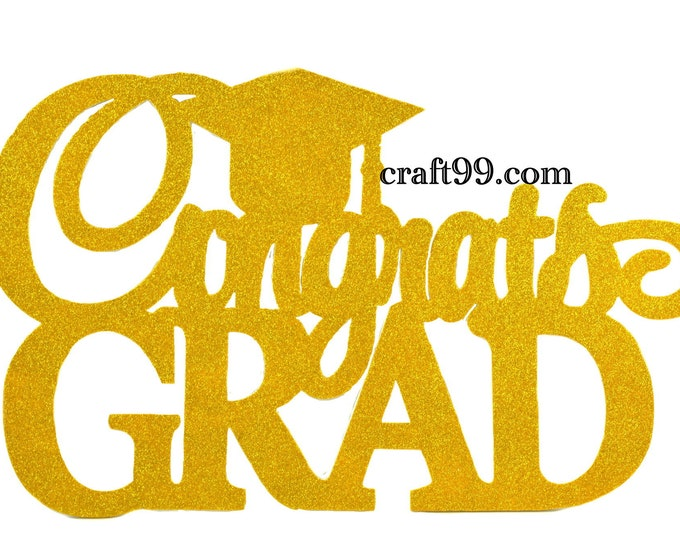 Congrats Grad Glitter EVA Foam Wall Decor Banner. XXL.
