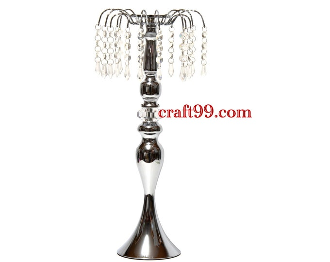 Acrylic Crystal Bead Candle Holder Centerpiece. 19 Inches.