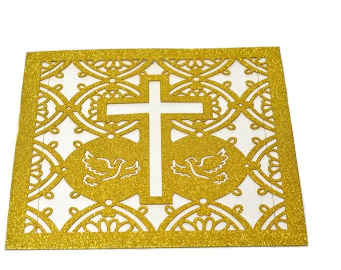 Glitter Laser Cut-Baptism Invitation-Laser Cut Invitation-Cross Invitation Card. 24 Pieces