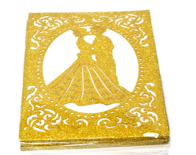 Glitter Laser Cut Invitation Couple. Gold-Silver. 24 Pieces.