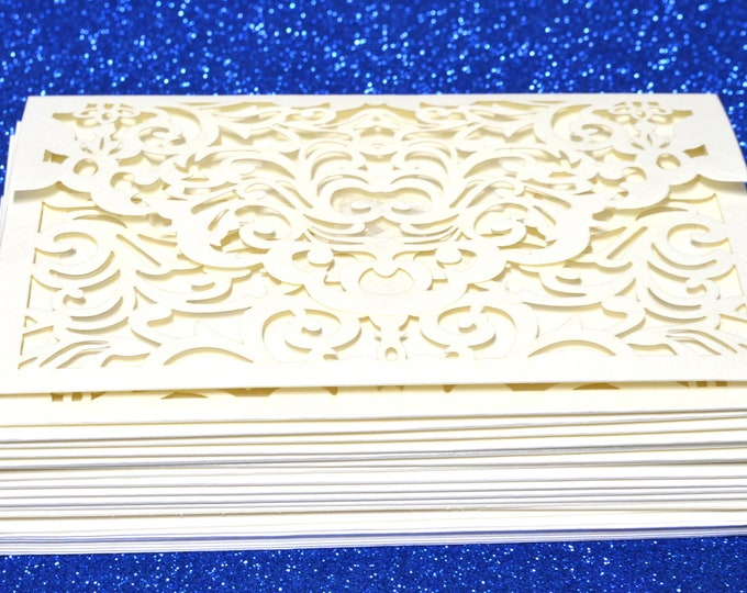 Baby Shower-Wedding Laser Cut Invitation. Printable Inner Sheet and Envelopes. Ivory Invitation. 24 Pieces.