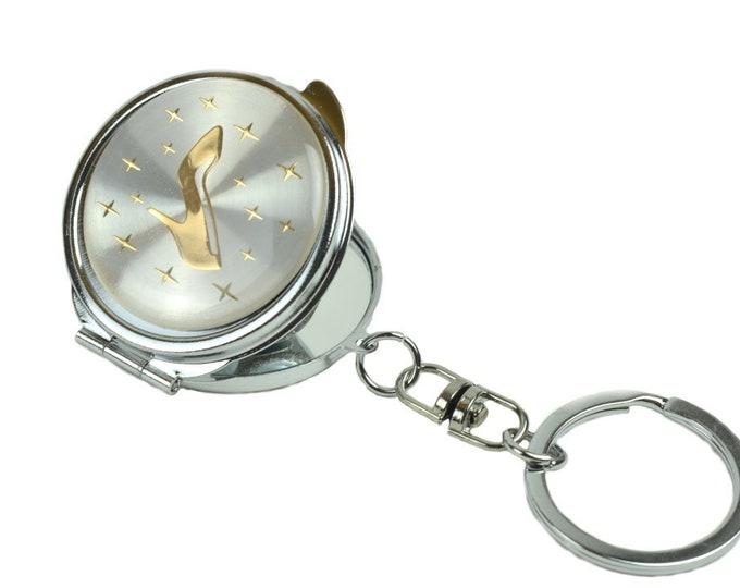 Key Chain Mini Compact Mirror-High Heel Figurine.