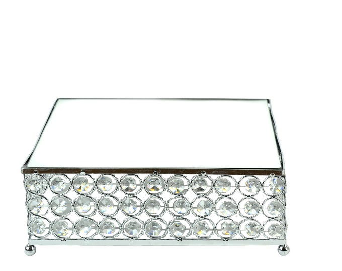 Wedding Cake Stand-Square Mirror Top-Crystal Bead-Engagement Party Decorations-Dessert Tray.
