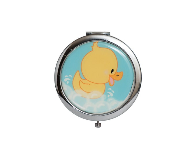 Compact Mirror Baby Shower Favors. Yellow Duck.