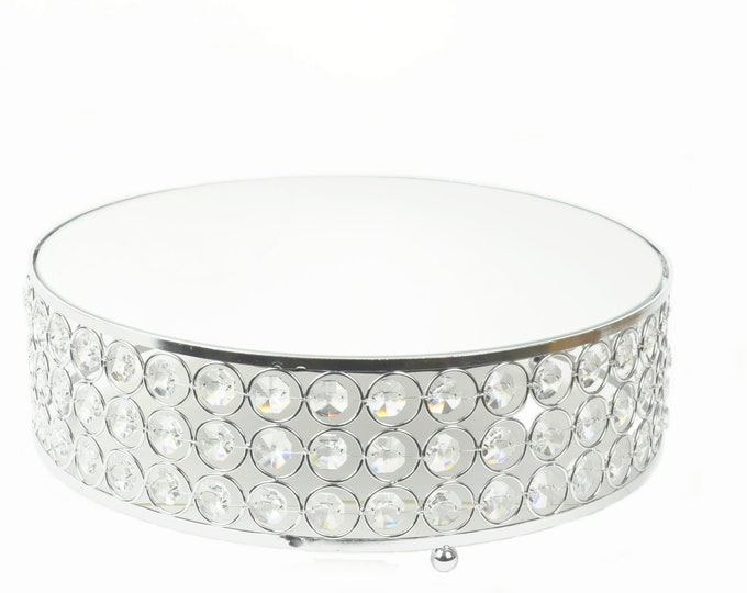 Cake Stand Crystal Bead Chain Glass Mirror Top. 16 Inches