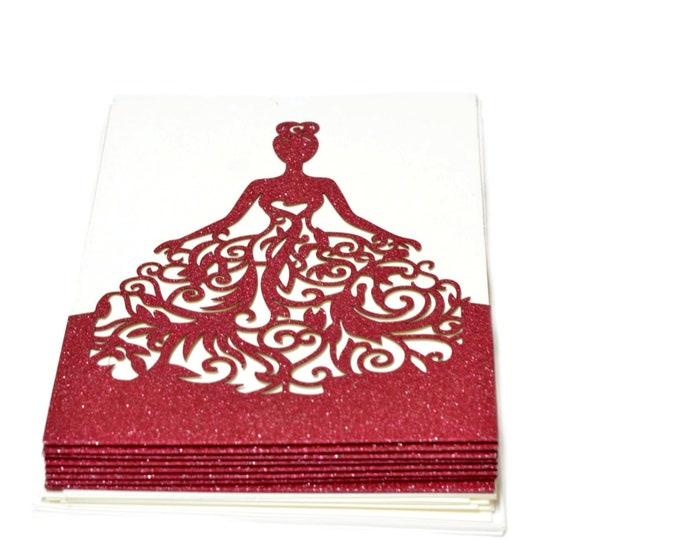 Laser Cut Crown Invitation-Wedding Birthday Laser Cut Invitation. 24 Pieces.