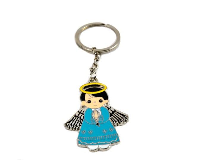 Baptism Key Chain Favors. Angel Figurine. Blue - Pink.
