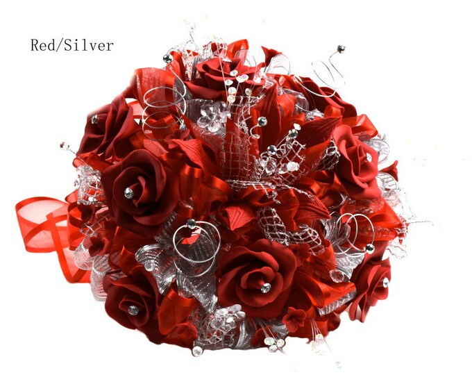Artificial Flowers Silver Tone Sweet Fifteen Bouquet.