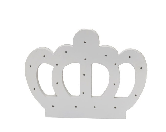Wooden Signs LED Light Up Crown Party Decorations.
