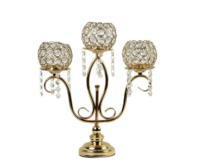Candle Holder-3 Arm Candelabra-Acrylic Crystal Bead-Party Decorations.