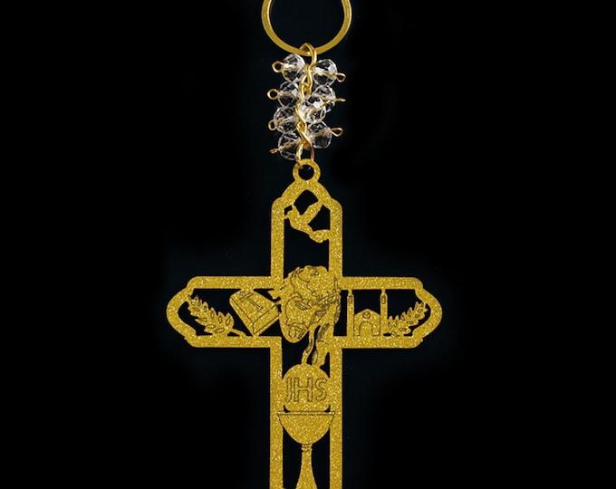 Wooden Cross Key Chain Favors (Spanish Version)