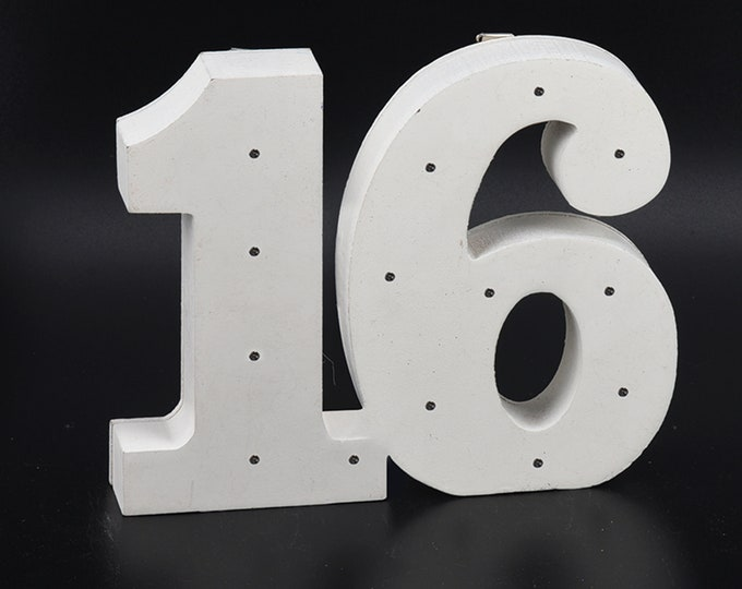 Wooden Marquee LED Light Up Number 16-Party Decorations. 11 Inches.