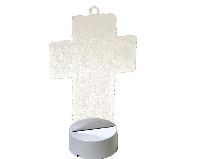 Baptism Centerpieces LED Light Plastic Engraving. Spanish Version.