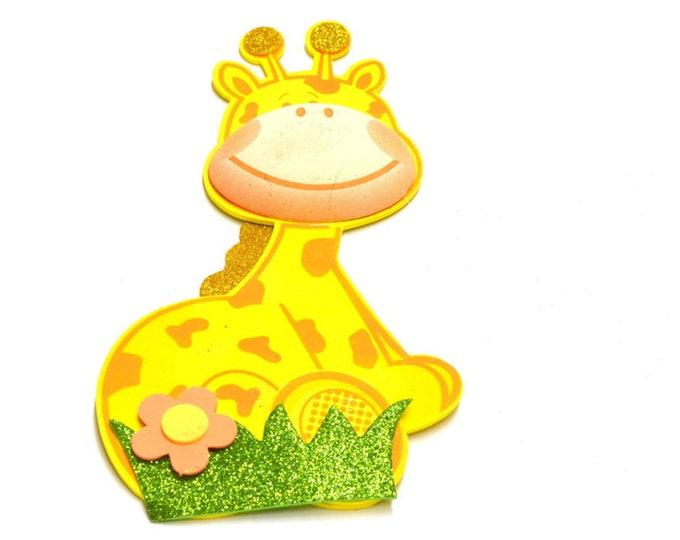 Giraffe 3D Glitter Foam Cut Out Party Decorations. L