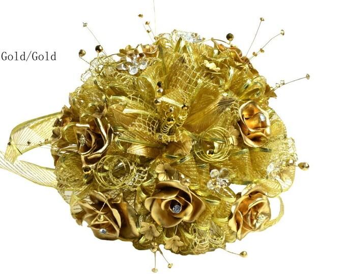 Artificial Flowers-Wedding Gold Tone Bouquet-2 Pieces Set.