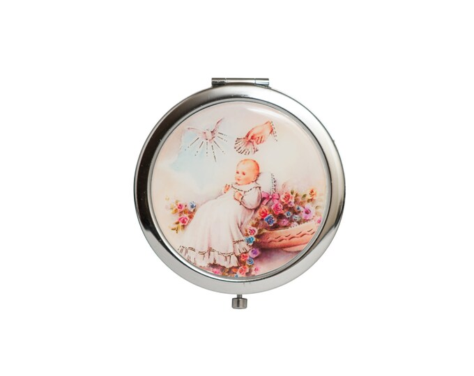 Compact Mirror-Christening Baptism Gift.