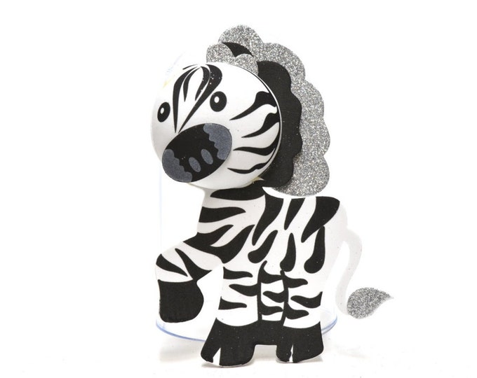 Zebra 3D Glitter Foam Cut Out Party Decorations. L.