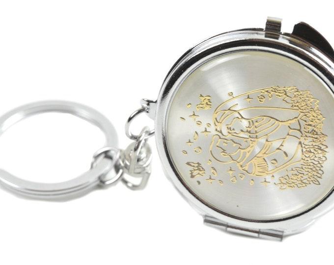 Key Chain Compact Mirror. Wedding Couple.