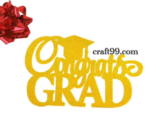 Congrats Grad Glitter EVA Foam Wall Decor Banner. XL.
