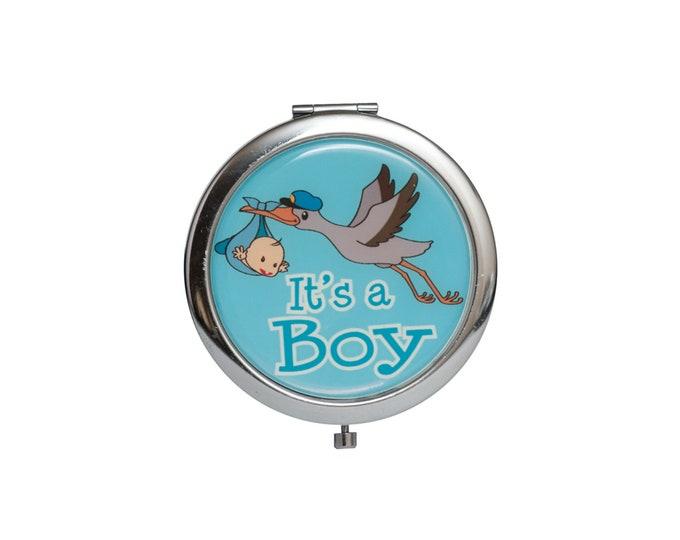 Compact Mirror Baby Shower Gift. Stork Figurine.