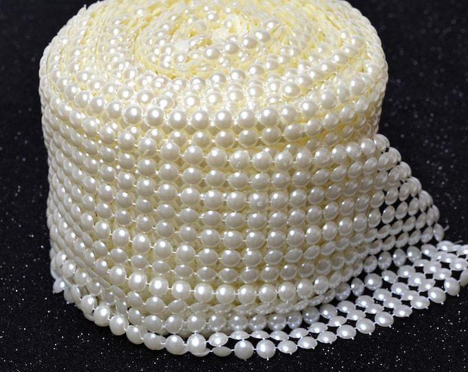 Pearl Mesh Roll Flat Back 8mm Party Decorations. 12 Row.