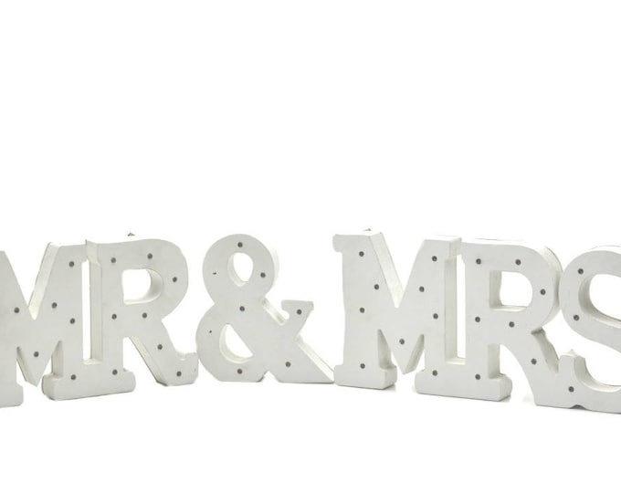Wooden LED Light Up Marquee Letters. MR and MRS