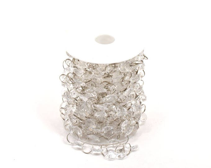 Acrylic Crystal Garland-Hanging Crystals-Clear Crystal Beads-Party Decorations. 1/2 Inches