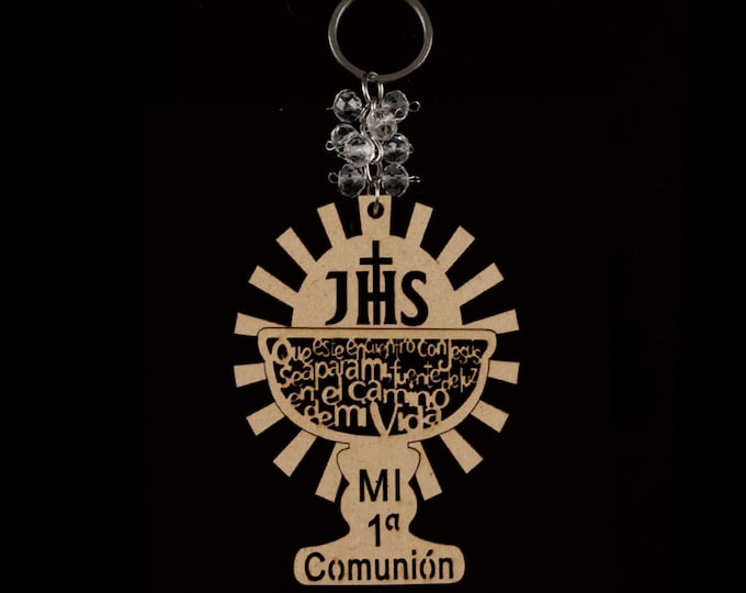 Wood Key Chain Communion Gift. (Spanish Version)